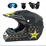 NBZH Adult Motocross Helmet MX Motorcycle Off-Road Scooter ATV Helmet D.O.T AM Mountainbike Full face Helm with Goggles/Windproof Mask/Gloves-7 Style,matteblackstar,XL