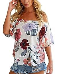 Amazon.es: blusas de mujer cuello barco - Floral y botánico / Blusas y camisas / Camisetas,...: Ropa