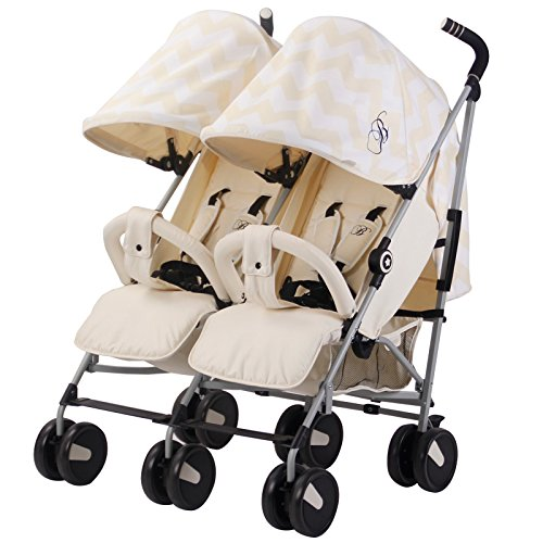 My Babiie Billie Faiers MB22 Cream Chevron Twin Stroller Best Price and Cheapest