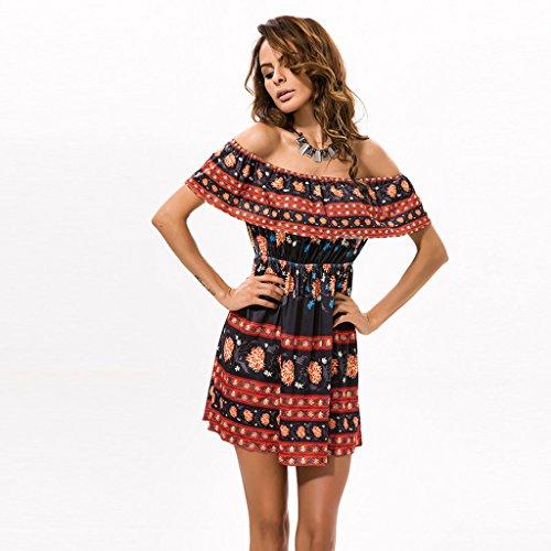 GWELL Damen Elegant Bohemia Drucken Schulterfreies Kleid Sommer Frühling Kleider Strand Kleid Schwarz Orange