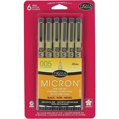 Pens 005 .2mm 6/Pkg-Black ()