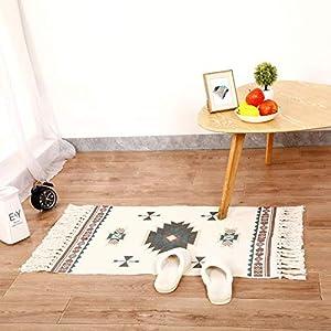 Cologo Läufer Teppich Baumwolle Waschbar Handwebteppich Vintage Marokkanisches Muster Antirutschmatte Teppichunterlage für Wohnzimmer, Schlafzimmmer, Esszimmer