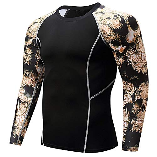 Herren Pullover Schwarz Kompressionsshirt Rundausschnitt Gym Fitness T-Shirt Sport Funktionsshirts Base Layer Langarm…