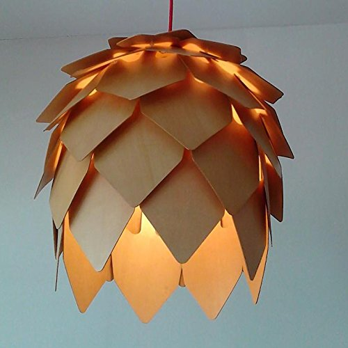 LINA-Europeo-americano contemporaneo soggiorno camera da letto sala da pranzo Arte del lampadario di cono del pino legno massello , 40cm