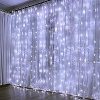 Guirlande Lumineuse Rideau 300 LED Rideau Lumineux 3M*3M 8 Modes d'Eclairage Etanche IP44 Exterieur et Interieur, Decoration pour Noël, Mariage, Anniversaire, Fenêtre, Maison, Patio 31V