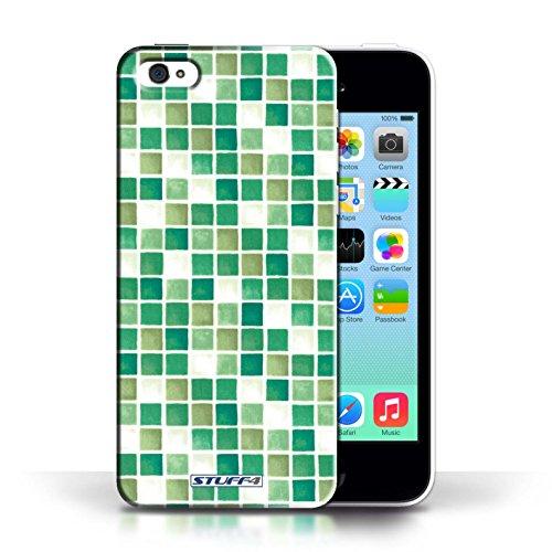 iCHOOSE Print Motif Coque de protection Case / Plastique manchon de telephone Coque pour Apple iPhone 5C / Collection Carreau Bain / Bleu/Vert Vert/Blanc