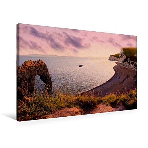 Durdle Door (Premium Textil-Leinwand 75 cm x 50 cm quer, romantische Abendstimmung Durdle Door, Dorset | Wandbild, Bild auf Keilrahmen, Fertigbild auf echter Leinwand, Leinwanddruck (CALVENDO Orte))