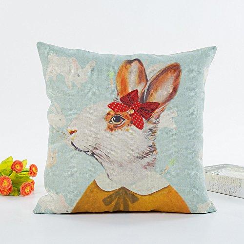 Watopi 2019 - Funda de cojín de Pascua, Conejo Conejo con Muelle, 43 x 43 cm, 1 Unidad, para Sala de Estar, sofá, Dormitorio, Coche
