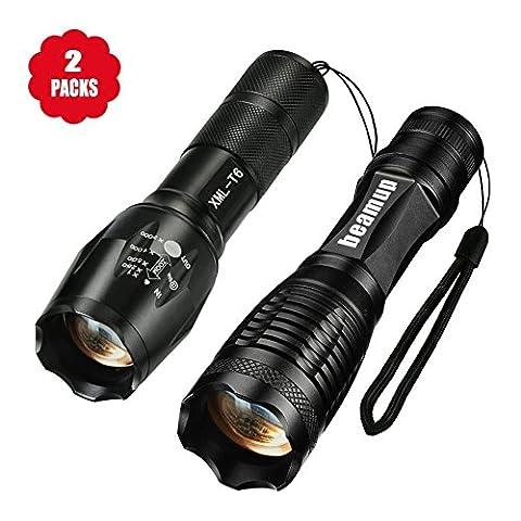 2 Packs Super Lumineuse Intensité Ajustable, Torche Lampe de Poche LED 900LM Zoomable et Rechargeable avec 5 Modes