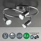 Plafonnier LED/3 spots/GU10/3 W/250 lumens/orientable/titane, [Classe énergétique A+]