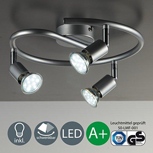 Lámpara de techo   Lámpara de pared   Tres focos LED de 3 vatios y 250 lúmenes   Giratoria y orientable   Con tres lámparas incluidas   Spot GU10