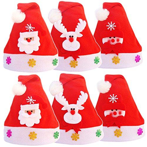 Outgeek 6 Pcs Santa Hut niedliche Deko Rentier/Schneemann/Weihnachtsmann Mützen Weihnachten (Santa Hüte Einzigartige)
