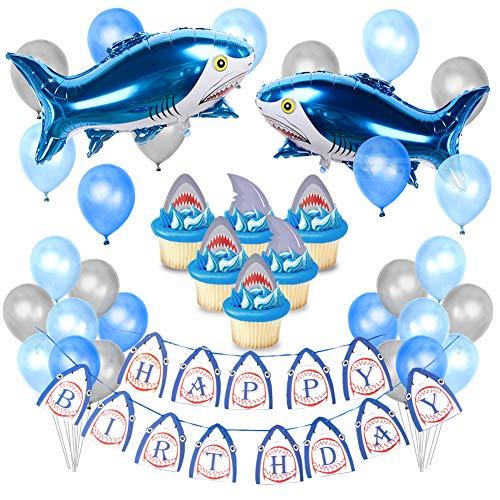 Kreatwow Shark Partydekorationen Zubehör für Kinder Geburtstag Shark Ballons Cupcake Topper für Baby Shark Party Supplies (Toppers Cupcake Shark)