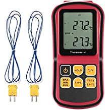 Grandbeing GM1312 - LCD Dual Channel Digital Thermometer with Two K- type Thermocouples