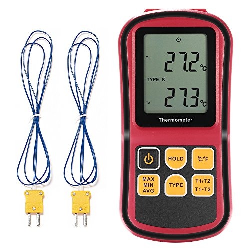 Dual-digital-thermometer (GrandBeing® tragbar Digital-Thermometer Dual Channel Temperaturmessgerät für K / J / T / E / R / N Thermoelement mit LCD-Hintergrundbeleuchtung Thermoelement)
