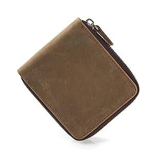 3948b2ce013d1 Onstro Herren Geldbörse aus echtem Leder Wildleder Querformat vintage  Portemonnaie Geldbeutel Reißverschluss Cognac