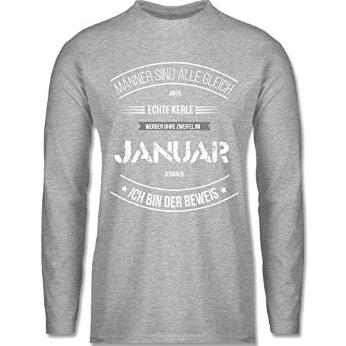 Shirtracer Geburtstag - Echte Kerle Werden IM Januar Geboren - Herren Langarmshirt Grau Meliert