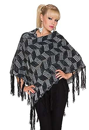 953 Fashion4Young Damen Poncho Pullover Tunika Pulli verfügbar in 2 Farben Gr. 34/36/38 (One Size (34 36 38), Schwarz Grau)