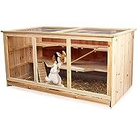 Melko® Kleintierkäfig aus Holz, 117 x 63 x 58 cm, inklusive 2 Rampen, 3 stöckig, Nagervilla Hamsterkäfig Mäusekäfig