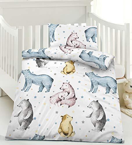 Bettwäsche Kinder Reine Baumwolle Bettbezug 100x135 cm Kissenbezug 40x60 cm, Reißverschluss, Weiß, Bärchen