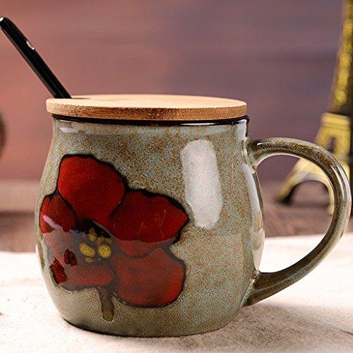 Creativo dipinto a mano colazione Coppa d'epoca Tazza in ceramica con coperta cucchiaio grande capacità personalizzata di vetro tazze di latte ( colore : # 2 )