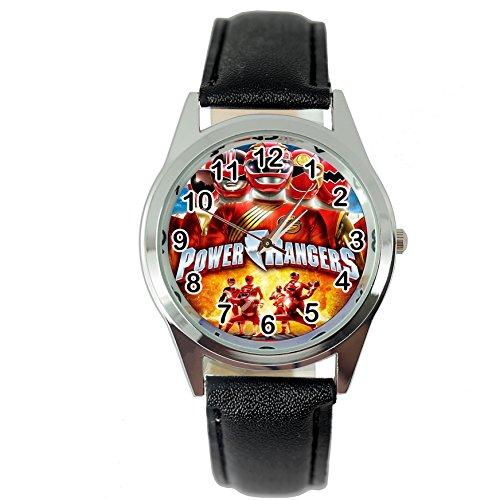 Taport Power Rangers Quarzuhr, rund, schwarzes Leder-Uhrenarmband + Gratis Ersatz-Akku + Geschenkbeutel