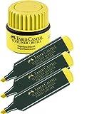 Faber-Castell Textmarker (3 Textmarker + Nachfüller, gelb)