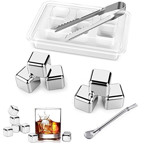 Whisky Eiswürfel Set von 6Edelstahl Getränk Ice Blocks Chillen Stein wiederverwendbar Drink Cooling Rock Set Mit Zange (Set von 6) -