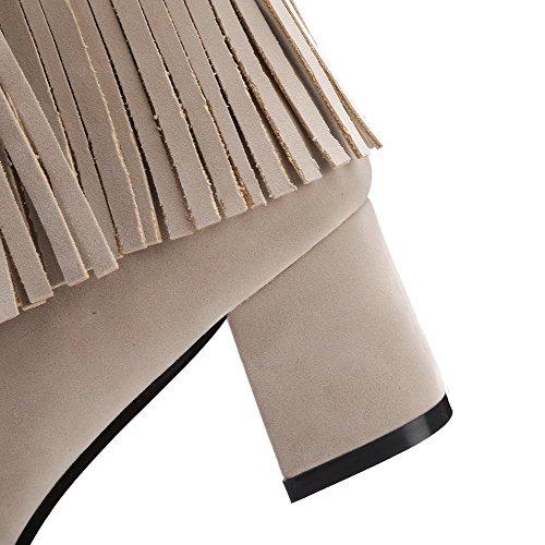 VogueZone009 Donna Punta Tonda Tacco Medio Bassa Altezza Puro Stivali con Metallo Pezzo Beige