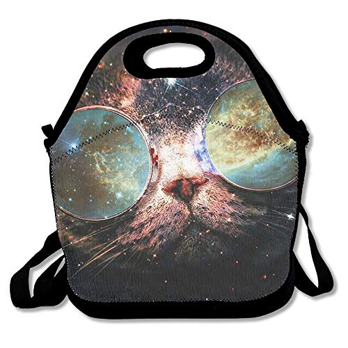 Reusable Lunch Bag Blue Cat With Sunglasses In Space Food Handbag With Adjustable Strap Custom Lunch Holder Printed Lunch Tote Bag Multi-function Lunch Box Organizer For Adults And Kids