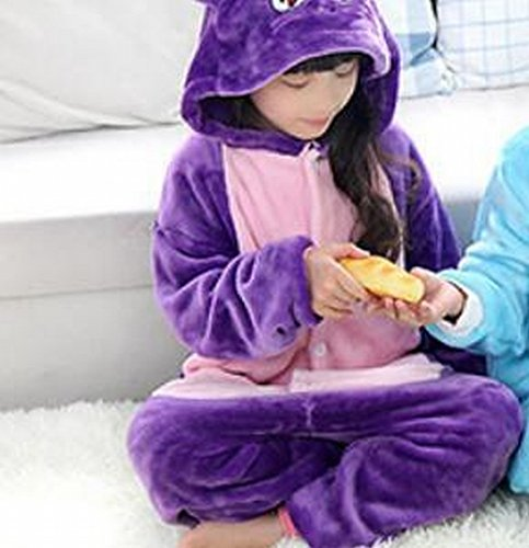 Kids Cartoon Flannel Animal Novelty Costumes Cosplay Pajamas Role-Playing Halloween Play Clothes,Purple,XXL (4 Yr Old Boy Halloween Kostüme)