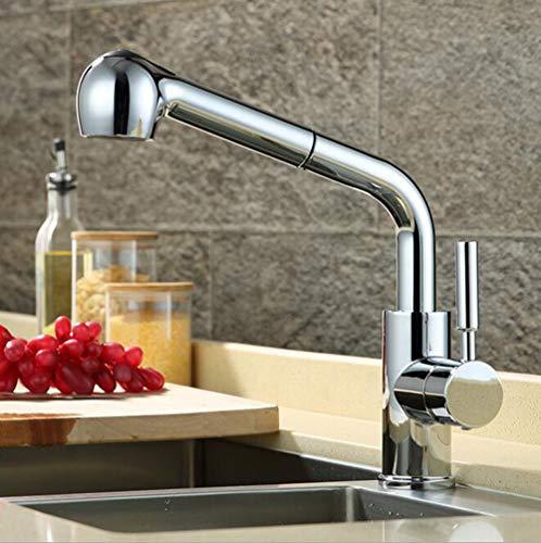 Preisvergleich Produktbild Küche kupfer rotieren ziehen wasserhahn küchenarmatur waschbecken wasserhahn wasserhahn wasserhahn küche einzigen wasserhahn waschbecken waschbecken heißer und kalter wasserhahn, chrome