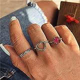 Kingus Ensemble de bague Taurus Constellation, 3pcs Love Heart Fuchsia pierres précieuses ongles doigt Midi anneaux argent Boho Ring Set