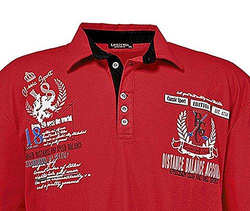 Übergrössen !!! WOW !!! Hippes Polo-Shirt Kurzarm LAVECCHIA Rot 2038 Bordeaux
