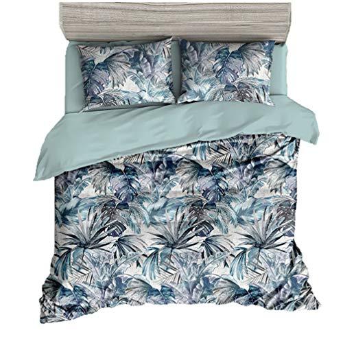 BeddingWish Digitaldruck Floral Betten-Set Nordic Style Palm Leaves Blumen Muster 100% Mikrofaser Full/Queen-1 1 -