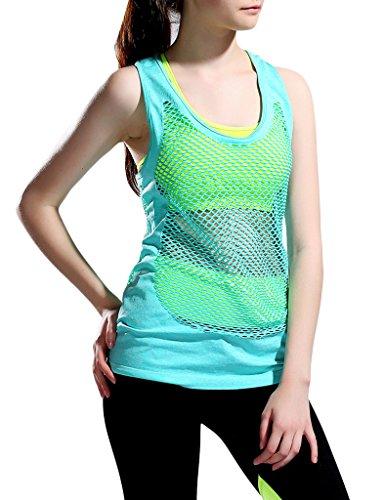 Jimmy Design Donna Gilet Palestra Fitness Racerback Yoga Canotte, donna, Green, L/XL