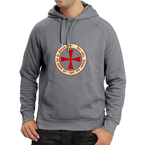Kapuzenpullover Tempelritter Templer Orden T-Shirt (Knights Templar) für Herren mit Tatzenkreuz Ordo Red Graphit Mehrfarben