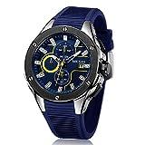 Megir Marca Reloj Hombre Deportivo Sumergible de Azul Correa de Silicona,analógico cronómetro Relojes Militar para Hombre 2018 novedades
