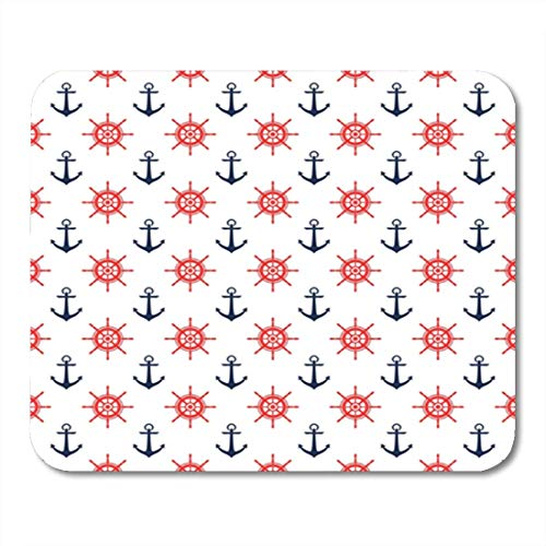 HOTNING Gaming Mauspads Gaming Mouse Pad Baby Digital Paper for Scrapbook Nautical Blue Red Pattern Seamless 11.8