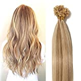 "18"" Pre Bonded Human Hair Extensions Blonde Highliths Real Hair 100S Strands Keratin"