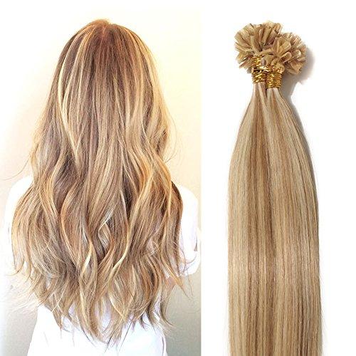 40-55cm extension capelli veri cheratina, 100 ciocche 55cm-50g, 100% remy capelli naturali u-tip allungamento, #12/#613 marrone chiaro+biondo