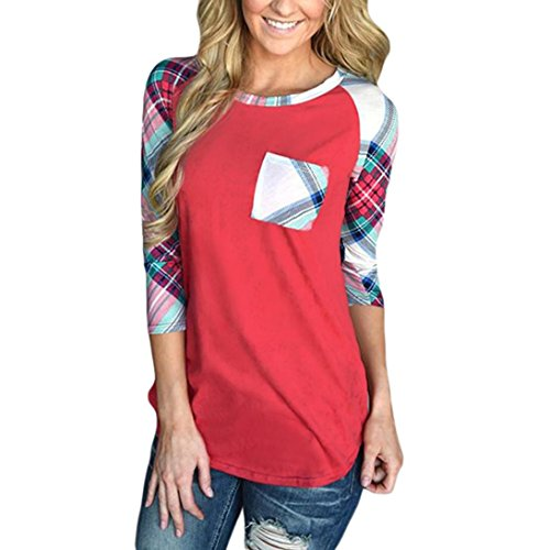 Longra Damen 3/4 Ärmel Shirt Loose Pullover Tunika Oberteile Frauen Casual Streifen Kariert T-shirt Block Blusen Tops mit Tasche (2XL, Red) (Block Gedruckt Top)