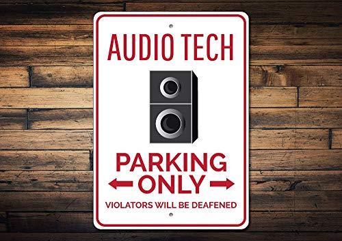 C-US-lmf379581 Audio Tech Sign Audio Tech Parking Sign Audio Man Cave Sign Audio Tech Gift Tech Guy Gift Speaker Sign - Quality Aluminum -