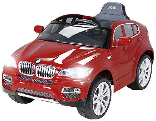 Actionbikes Motors Kinder Elektroauto Original BMW X6 Lizenzierter 2 x 45 Watt Motor Ledersitz, Elektro Kinderauto Kinderfahrzeug (rot)*