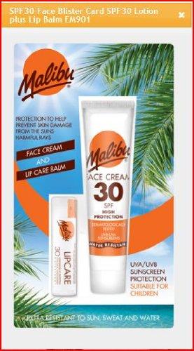 Malibu Duo Pack Sun Protection Face Cream & Lip Balm SPF 30wasserabweisend -