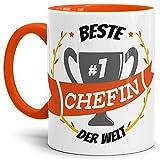 Tassendruck Kaffee-Tasse Chefin Innen & Henkel Orange/Lustig / Fun/Mug / Cup/Geschenk Qualität - 25 Jahre Erfahrung