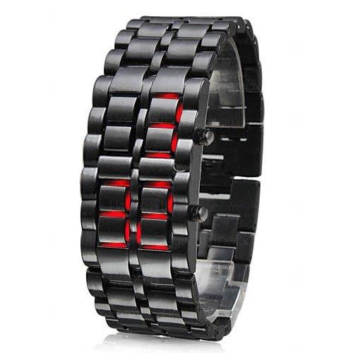 TRIXES Moderne LED Uhr mit Edelstahlarmband Samurai Uhr (Futuristische Uhr)