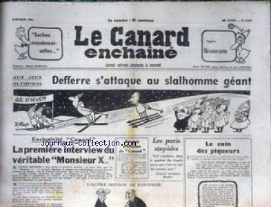 canard-enchaine-le-no-2259-du-05-02-1964-aux-jeux-olympiques-defferre-s-39-attaque-au-slalhomme-geant-la-1ere-interview-du-veritable-monsieur-x-les-paris-stupides-general-vietnamien-khanh-au-general-de-gaulle