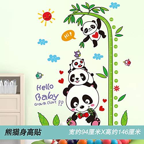 JIANXIQT Höhenmessung Wandaufkleber,Mode Cute Cartoon Tiere Panda Sonne Pflanze Bambus Modern Baby Wachstum Abbildung Kindergarten Kinder Zimmer Aufkleber Home Schlafzimmer Dekoration (Panda-bambus-pflanze)
