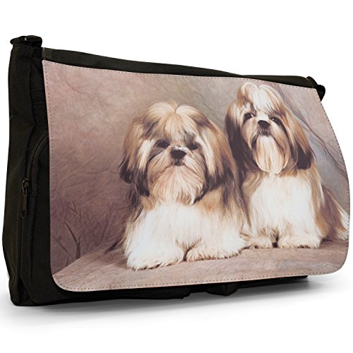 Fancy A Bag Borsa Messenger nero Samoyed Dog Shih Tzu Dogs Sitting